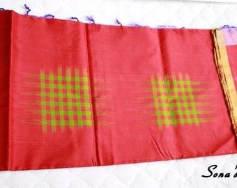 Red and Violet Color Uppada Pure Silk Saree with Checks Design - A1020