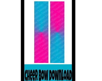 Pink Blue Ombre Sublimation Strip Cheer Bow JPEG INSTANT DOWNLOAD