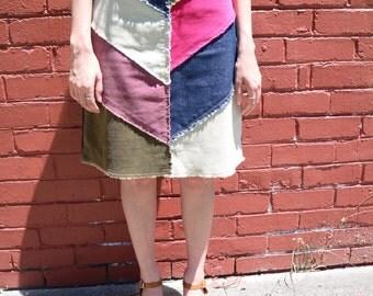 Recycled Material Corduroy Denim Midi Skirt
