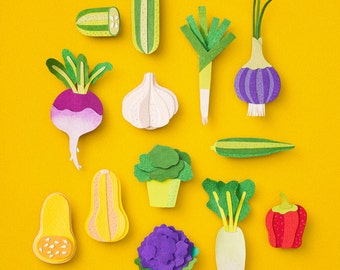 VEGETABLE PAPERART / A4 Size / Papercut Wall Art, Eat Your Veggies Print, Kitchen Decor, Colourful Cheery Home Decor, Original Art by LULO