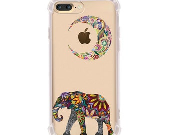 iPhone 6/6s and iPhone 7 Shock Absorption Case, Moon elephant Design