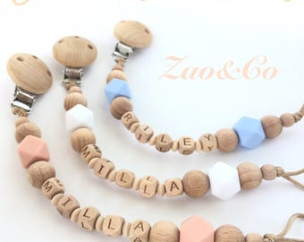 Dummy clip pacifier chain holder wood silicone personalized name baby gift -attache sucette tetine-portacuccio -schnullerkette -chupetero