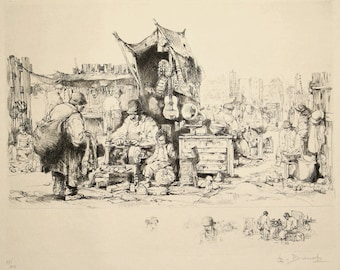 Auguste Brouet Original Pencil Signed Etching French Flea Market 1928 Edition of 100 Unmatted, Unframed
