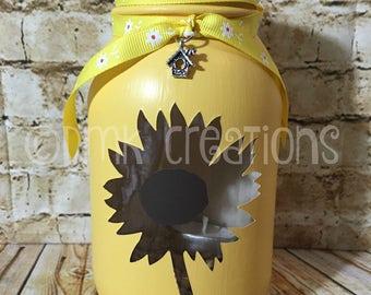 Sunflower Painted Mason Jar Tea Light Candle Holder, sunflower, painted mason jar, mason jar, tea light candle, candle holder, Mother's day