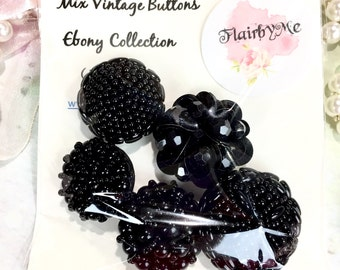 Vintage Buttons/Ebony Collection/Black Buttons/Beaded Buttons/Great for Flower Center,Sewing Projects,Jewelry,Doily Book,Junk Journal,Bag