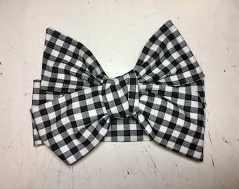 TIED, Black and White, Buffalo Plaid Headwrap, Checkered, Baby Headband, Toddler Headwrap, Big Bow Headwrap, Baby Girl, Buffalo Plaid, Black