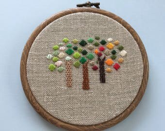 Hand embroidered trees in hoops