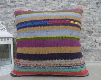 natural cotton tribal handwoven kilim pillow cover floor cushion 20 x 20 bohemian pillow decorative pillow throw pillow boho cushion