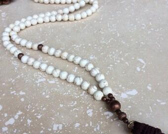 Turquoise Tassel Necklace,white turquoise tassel necklace,turquoise necklace,mala turquoise tassel necklace,turquoise beaded tassel necklace