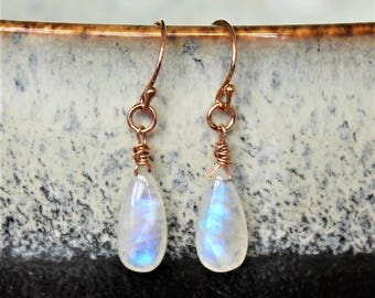 Flashy Raibow Moonstone and Rose Gold Filled Dangle Earrings, Moonstone drops, Moonstone Jewelry, June Birthstone