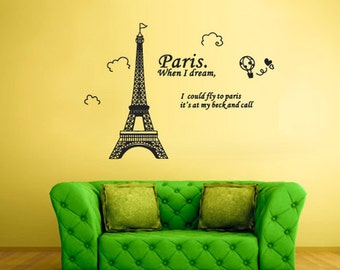 rvz2131 Wall Vinyl Decal Sticker Decal Eiffel Tower Decal Paris France Words Quote Sign