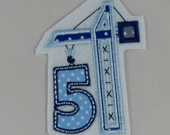 Birthday number 5 with crane, patches, application