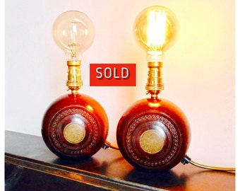 A Pair of Vintage Wooden Bowling Lamps