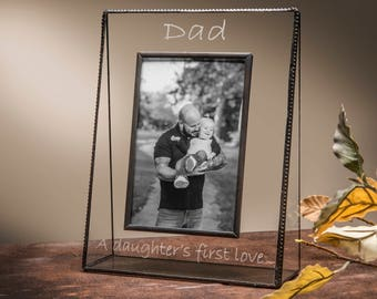 Personalized Gift for Dad  Glass Picture Frame Engraved Photo Frame Father's Day Gift Step Dad A Daughter's first love Pic319 EP533