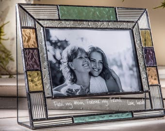 Stained Glass Picture Frame for Mom Colorful Glass Photo Frame Personalized Gift for Mother Grandmother Girlfriend Wedding Pic 391-46H EP582
