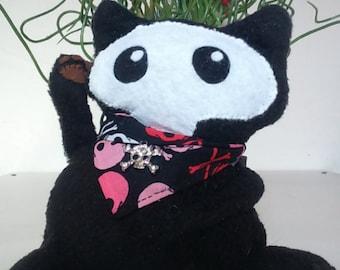 Maneki Neko Black Cat  handsewn