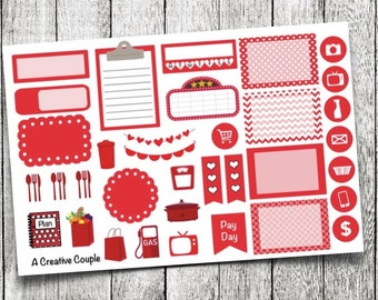 Red Assortment Planner Stickers