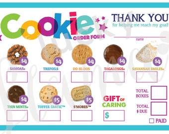 2017 Girl Scout Cookie Order Form - Printable