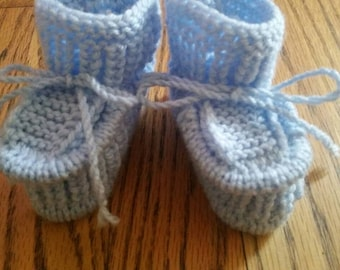 Knitted baby booties, size 3-6 months  light blue, for boys