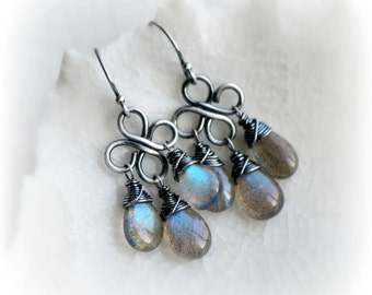 Labradorite Earrings, Blue Labradorite Dangle Earrings, Small Wire Wrapped Labradorite Earrings Oxidised Silver, Gift for Her by Blissaria