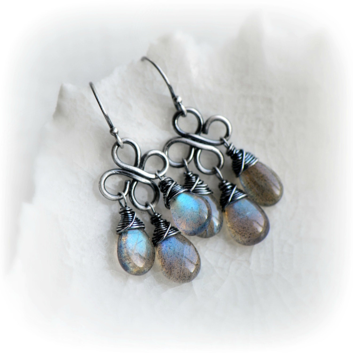 Small Blue Earrings: Labradorite Earrings Blue Labradorite Dangle Earrings Small