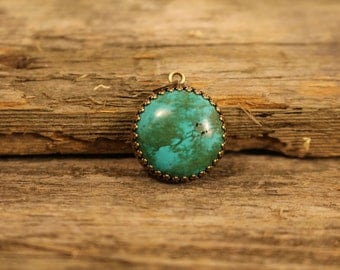 TURQUOISE PENDANT - Handcrafted - Antique Mounting - Free Shipping