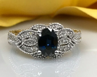 Vintage look Sapphire and Diamond  Ring 14k White Gold #1599