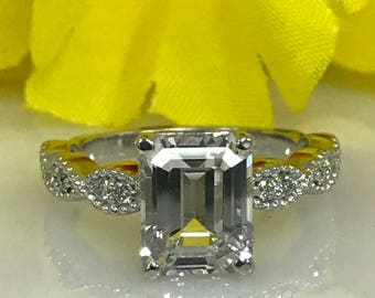 Moissanite Emerald Cut Engagement Ring 2.50 ctw. Forever One with Milgrain Design in 14k White Gold  #5018