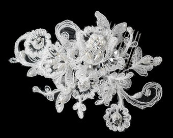 HAIR COMB Wedding Bridal White Ivory IMPORTED French Alencon Lace Swarovski Crystal & Pearl Austrian Crystals