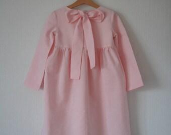 Linen dress, Linen girl dress, Linen dress for girls, Vintage girls dress, Linen girls dress, Flower linen dress, Flower girl dress