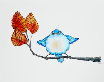 """Precious Whimsical Baby Bird """"Fall"""" Learning to Fly, Original Watercolor Painting, Watercolour Autumn Colorway Cute Stylized Garden Birdie"""