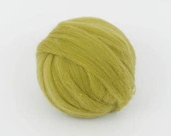Olive B153, 24mic merino wool tops, 1.78oz (50gr) for needle felting, wet felting, spinning. 100% wool.