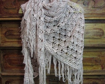 "MADE TO ORDEN.Crochet triangular  pastel lilac romantic Shawl/wrap with fring ""Rose quartz'' for women . Romantic,boho chic, openwork, airy."