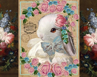 Vintage Shabby BABY EASTER BUNNY Large Image Instant Digital Download Printable Graphic Transfer Decoupage HummingbirdGraphique 900waNo10