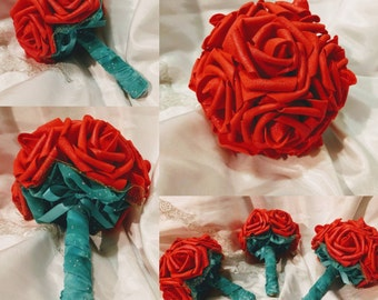 Walt Disneys The Little Mermaid Princess Ariel Inspired Bouquet for Wedding in Red and Aquamarine~ Multiple sizes~ 5 Inches Shown