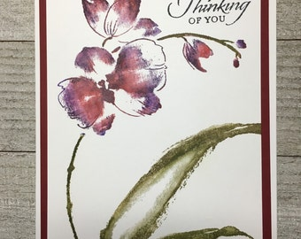Botanical Orchid Thinking of You Handmade Card