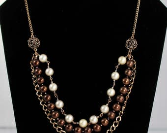 Multi Stand Pearl & Copper Chain Necklace