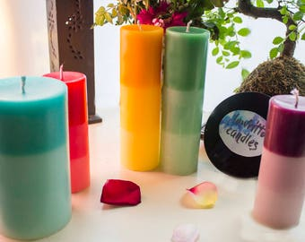 Ombré pillar candle multiple size - ANY SCENT & COLOUR