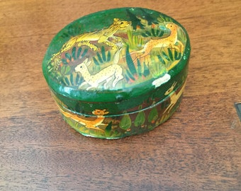 Vintage Paper Mache Oval Box With Jungle Animals