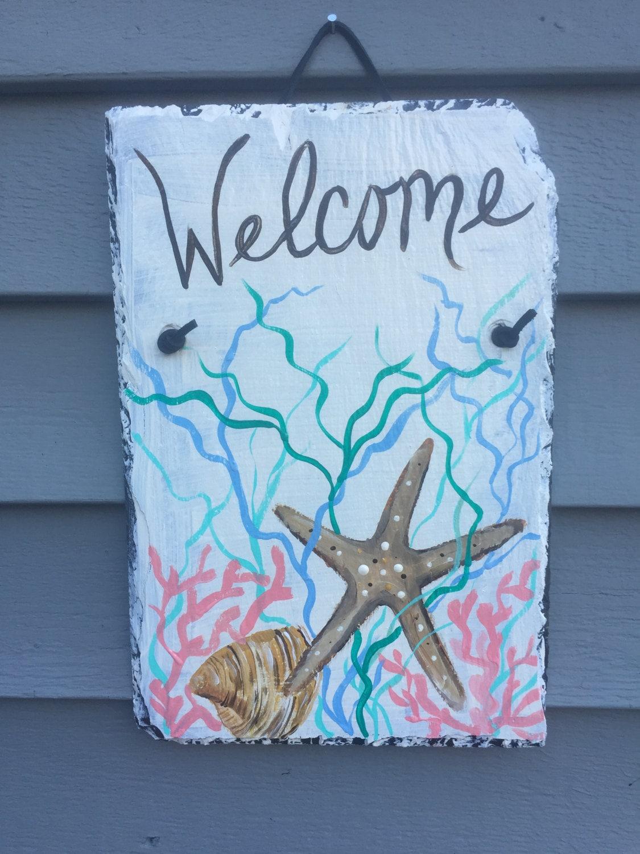 starfish shell slate welcome sign, 12 x 8 painted slate, door