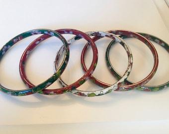 Cloisonne Bangle Bracelets, Brass with Enamel