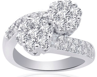 2.00 Carat Round Cut Diamond Flower Cluster Shaped Bypass Ring 14K White Gold