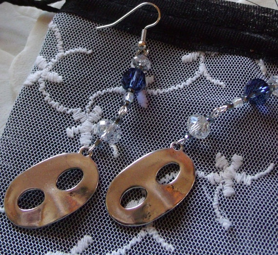 Silver harlequin mask earrings, venetian mask, mardi gras design, long dangle , steel blue crystals, large silver mask, fantasy charm , gift
