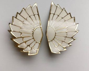Vintage Earrings, Retro Clip-On Earrings, Gold and Cream Colored Wing Earring