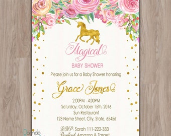 Unicorn Baby Shower Invitation, Unicorn invitation, pink gold baby shower invitation, baby girl shower invites, baby shower invitation girl