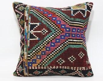 24x24 Handwoven Kilim Pillow Sofa Pillow Ethnic Pillow Boho Pillow Sofa Pillow 24x24 Naturel Embroidered Kilim Pillow SP6060-1052