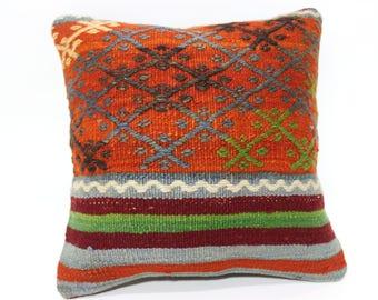 14x14 Decorative Kilim Pillow Sofa Pillow Bed Pillow 14x14 Striped Kilim Pillow Throw Pillow Ethnic Pillow SP3535-242