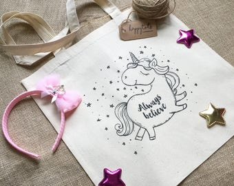 Illustrated and Printed Unicorn Totebag, 100% Cotton, Handcrafted, Eco Friendly, Grocery Bag, Book Bag, Shopping Bag