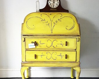 Vintage ART DECO Yellow Hand Painted FOLK Bureau Desk
