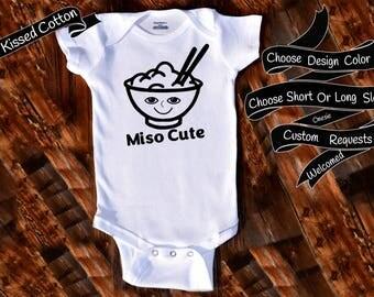 Baby Onesie Miso Cute Me So Cute Funny Chinese Food Joke Custom Gift Custom Clothing Gerber Baby Bodysuit Choice Of Design Color {K281}